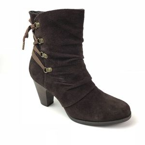 CLARKS Brown SUEDE tie LACE ZIP UP ANKLE BOOTS